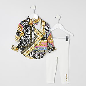 Mini girls white baroque print shirt outfit