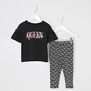 Schwarzes T-Shirt-Outfit mit Print und Rüschen für kleine Mädchen