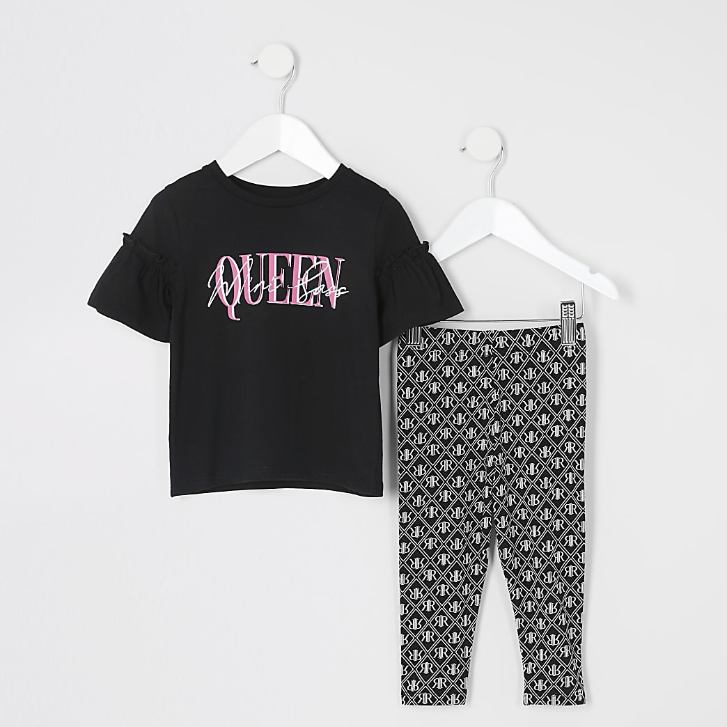 Mini - Zwart T-shirt outfit met ruches en print voor meisjes