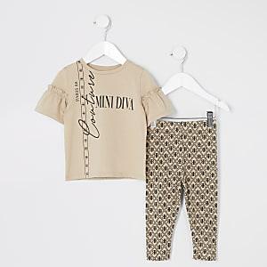 Mini - Beige T-shirt outfit met print en ruches voor meisjes
