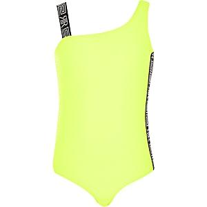 Geel zwempak met ontblote schouder en textuur voor meisjes