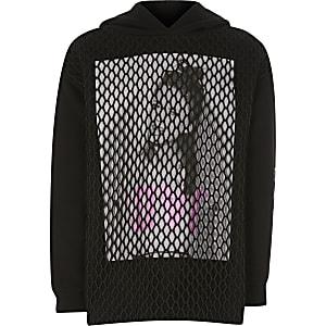 Schwarzer Netz-Hoodie mit Print für Mädchen