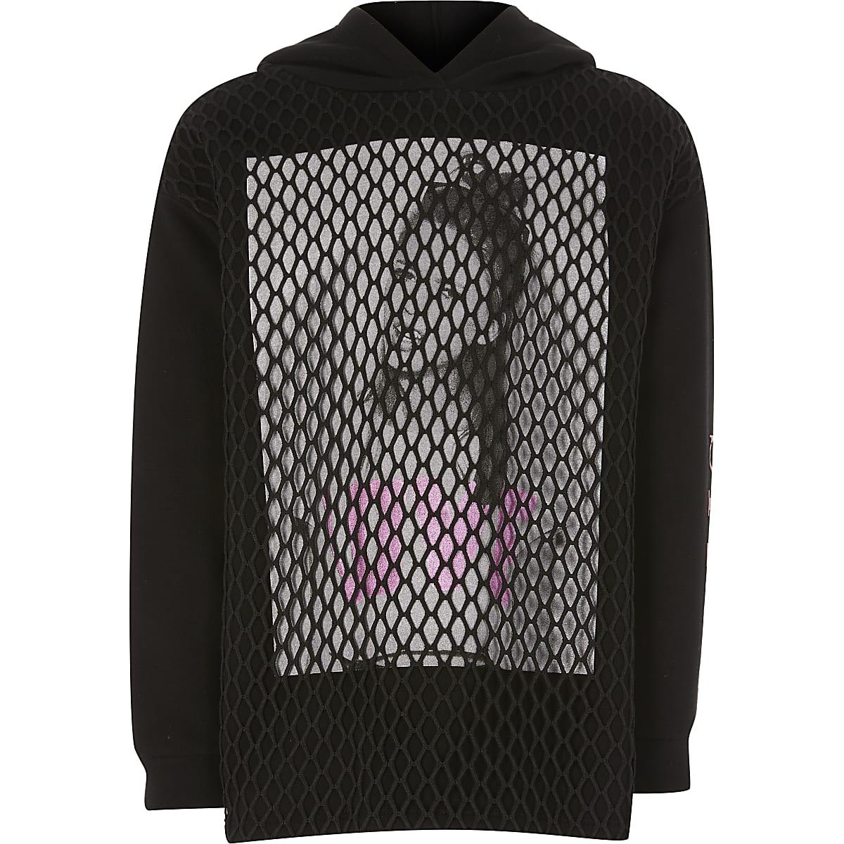 Girls black printed mesh hoodie