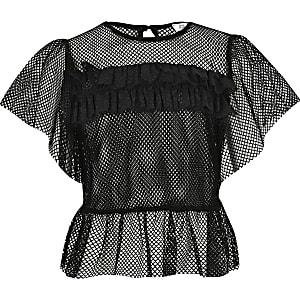 Schwarzes T-Shirt für Mädchen mit Mesh-Einsatz und Rüschen