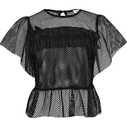 Girls black mesh frill T-shirt