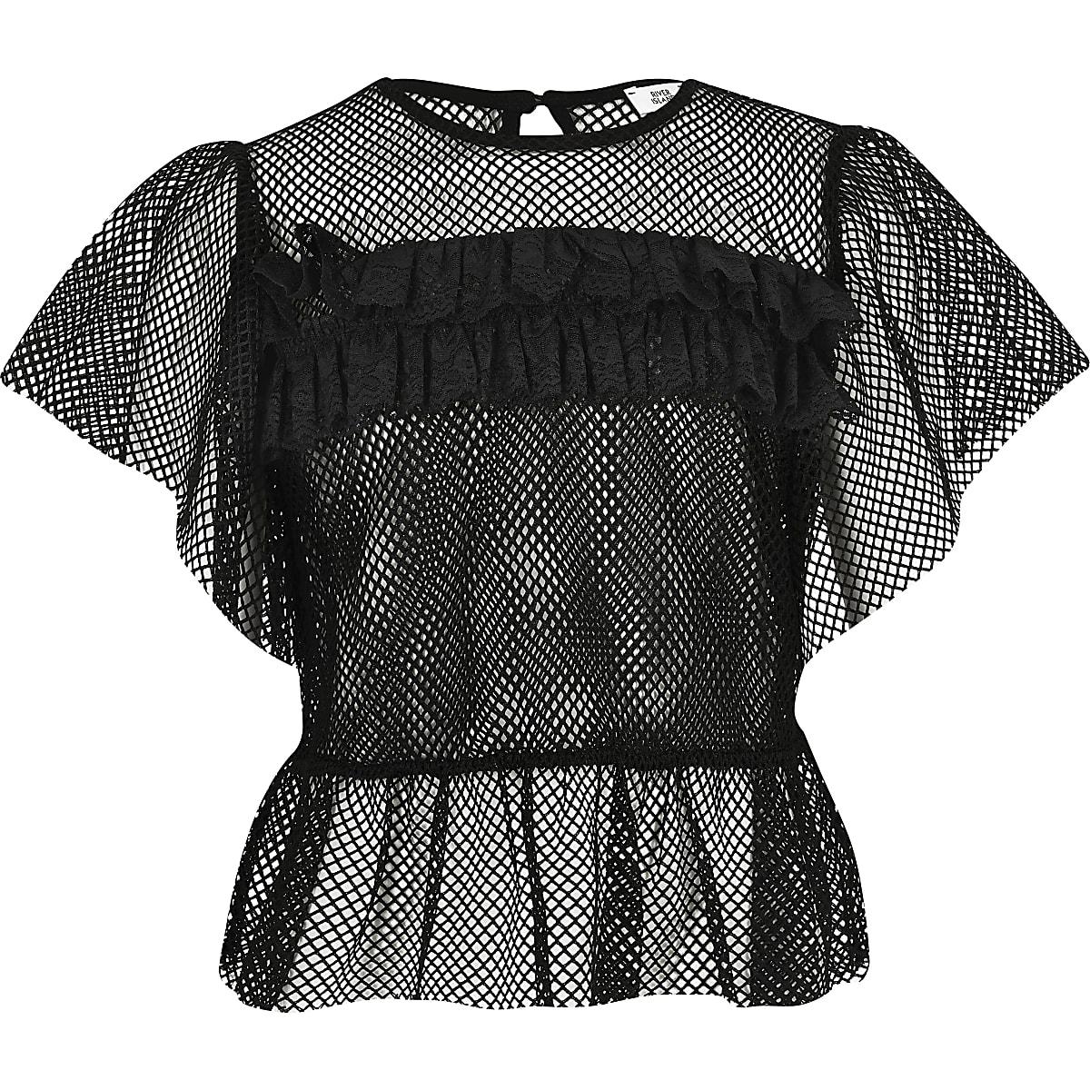 Girls black mesh frill T-shirt