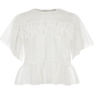 Weißes T-Shirt für Mädchen mit Mesh-Einsatz und Rüschen