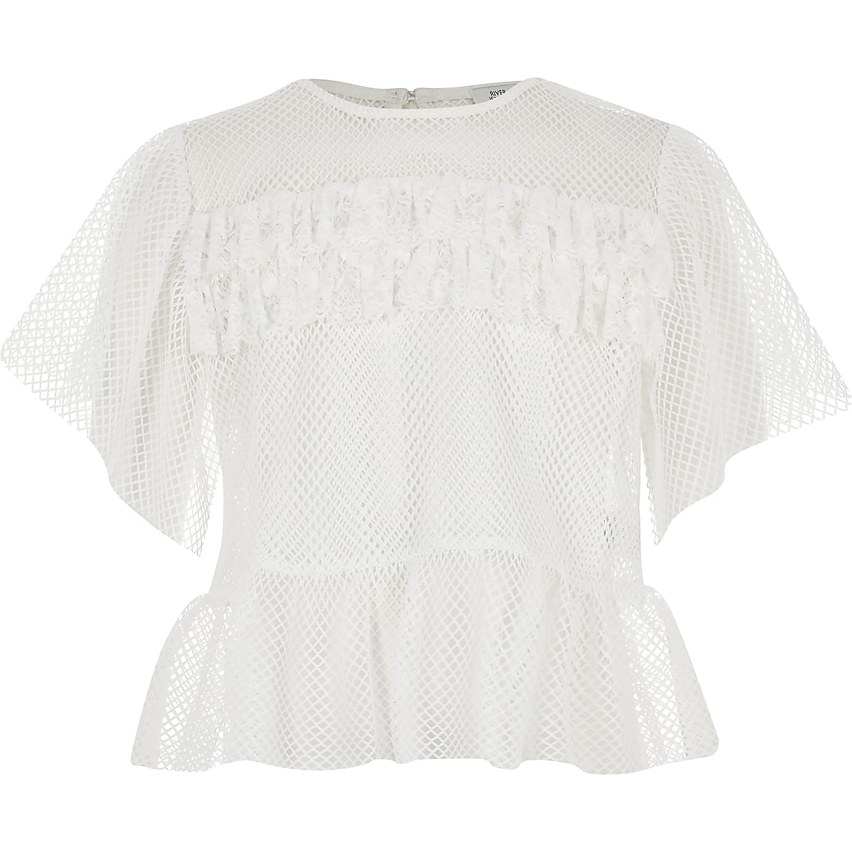 Wit mesh T-shirt met ruches voor meisjes