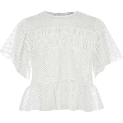Girls white mesh frill T-shirt