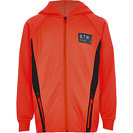 Boys RI Active orange zip hoodie