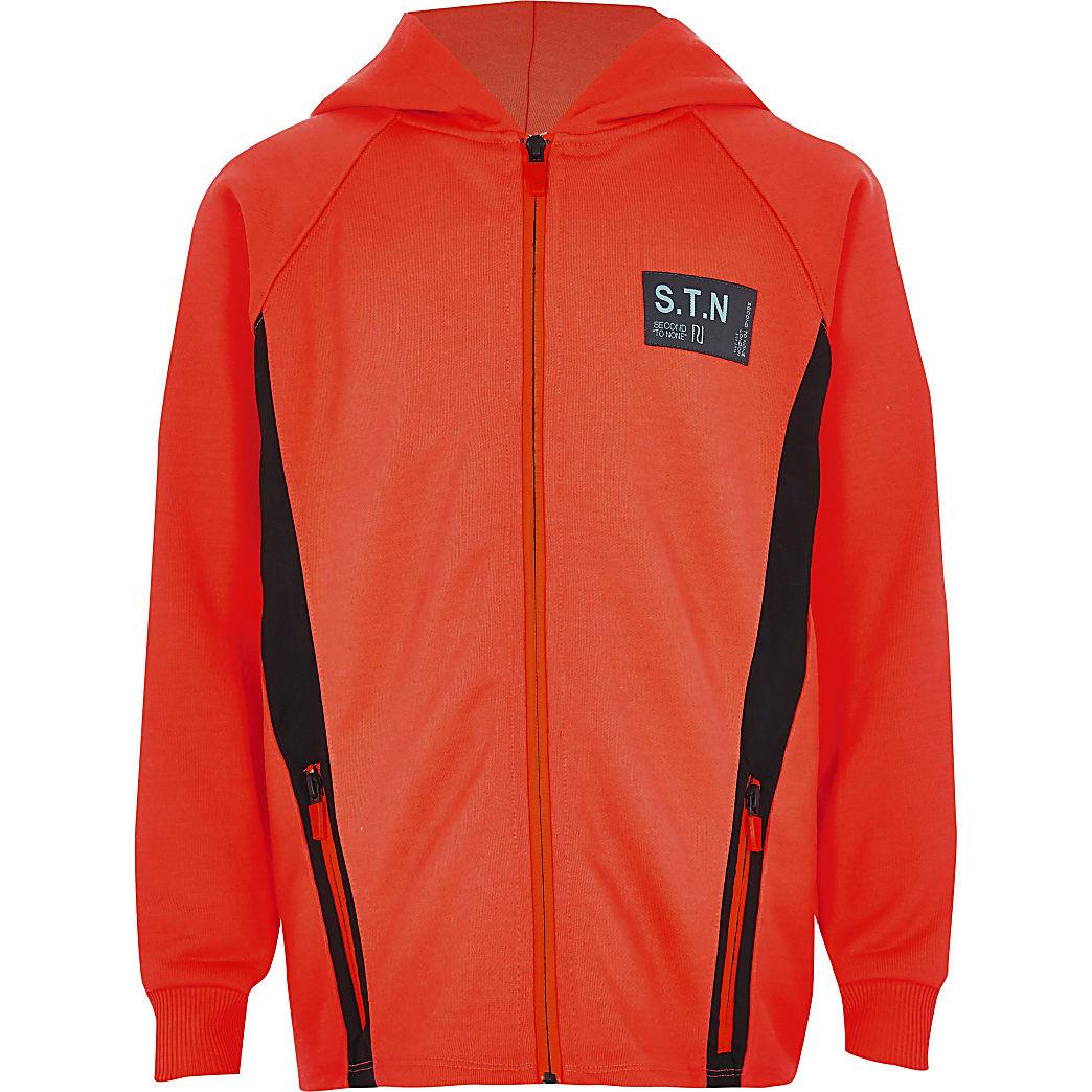 Boys RI Active orange zip hoodie