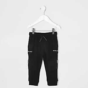 Pantalons de jogging utilitaires noirs avec bande sur les pochesMini garçon
