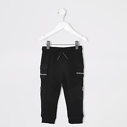 Mini boys black utility tape pocket joggers