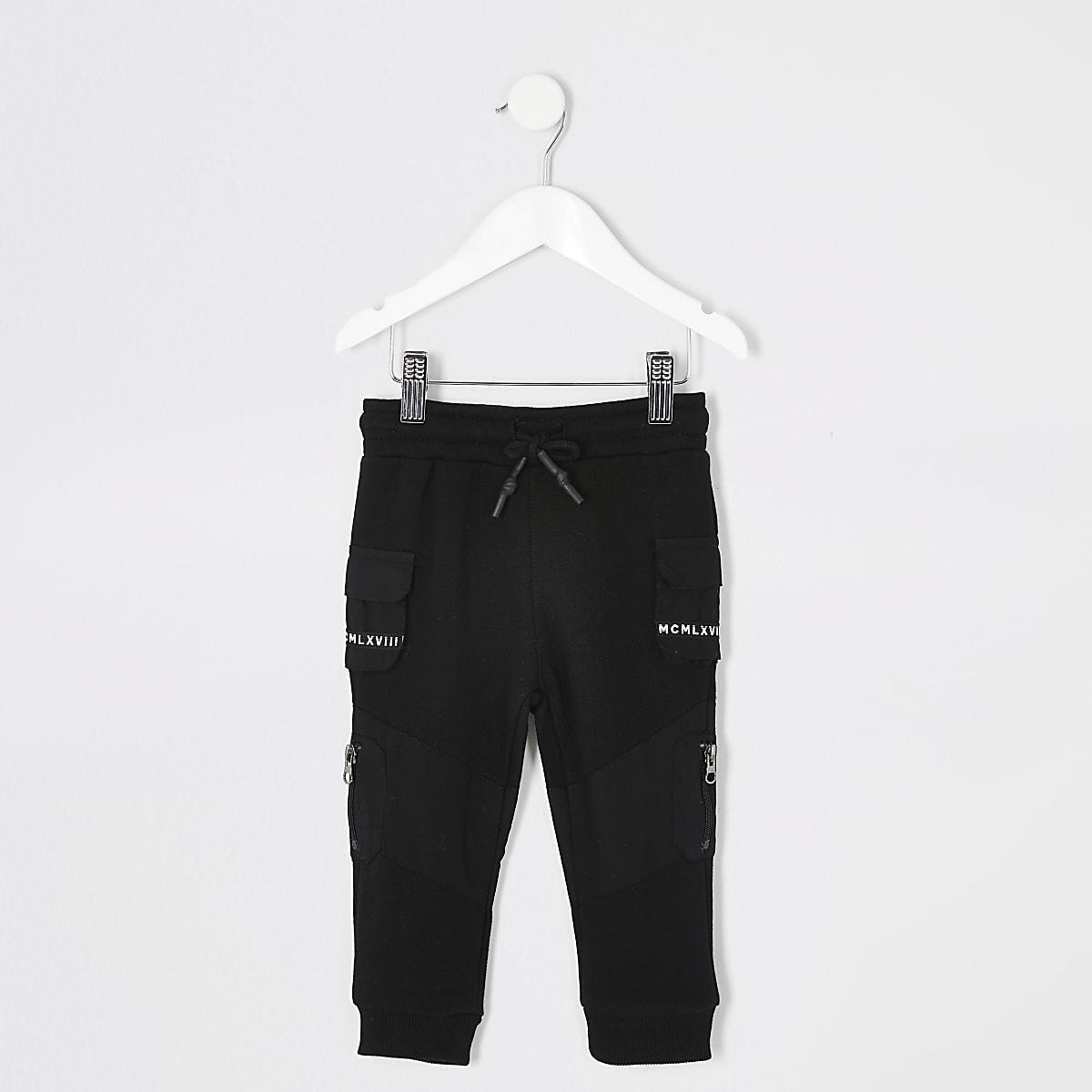 Mini boys black utility tape pocket joggers