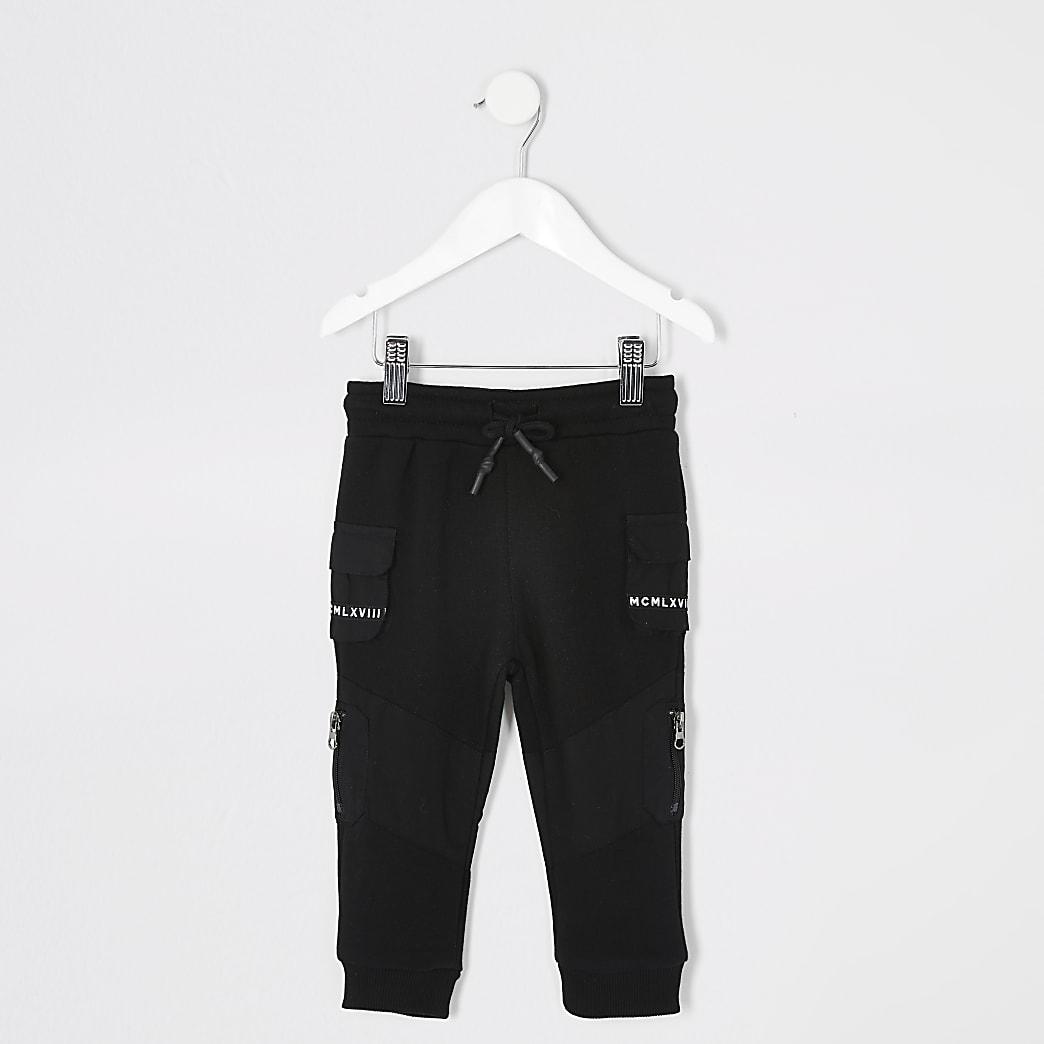 Mini - Zwarte utility joggingbroek met print op broekzakken voor jongens