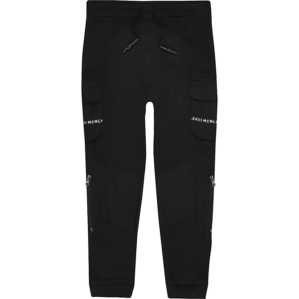 Black utility tape pocket joggers
