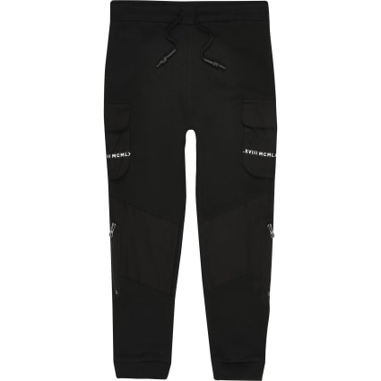 Black utility tape pocket joggers