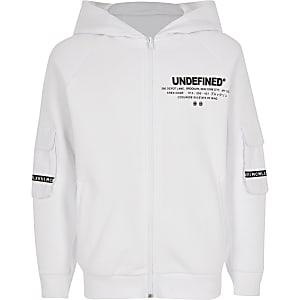 Witte 'Undefined' hoodie met rits voor jongens