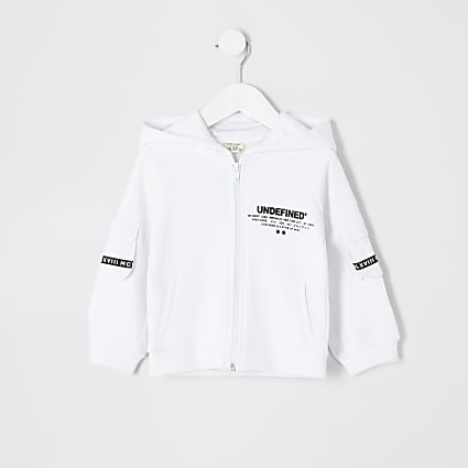 Mini boys white 'Undefined' zip hoodie