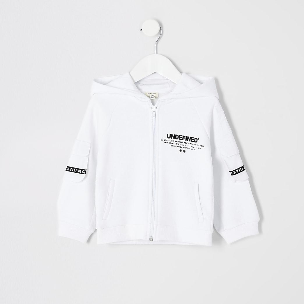 Mini - Witte 'Undefined' hoodie met rits voor jongens