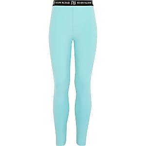 Leggings turquoise à logo RI pour fille