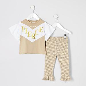 Mini - Outfit met bruin T-shirt met 'Fierce'-tekst voor meisjes