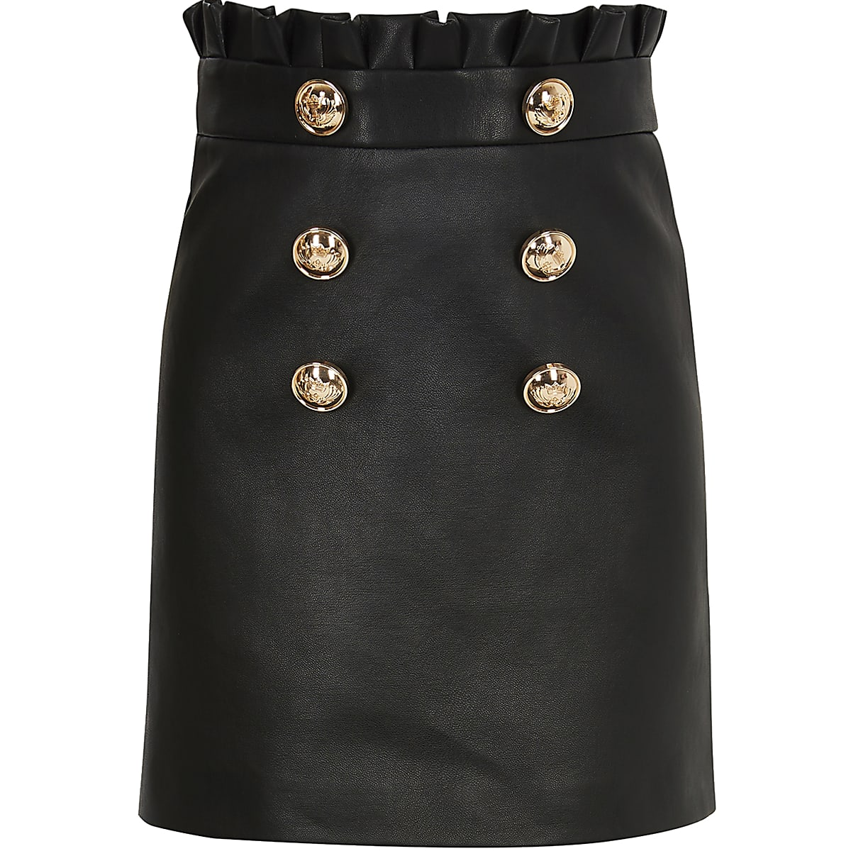 Girls faux leather paperbag mini skirt