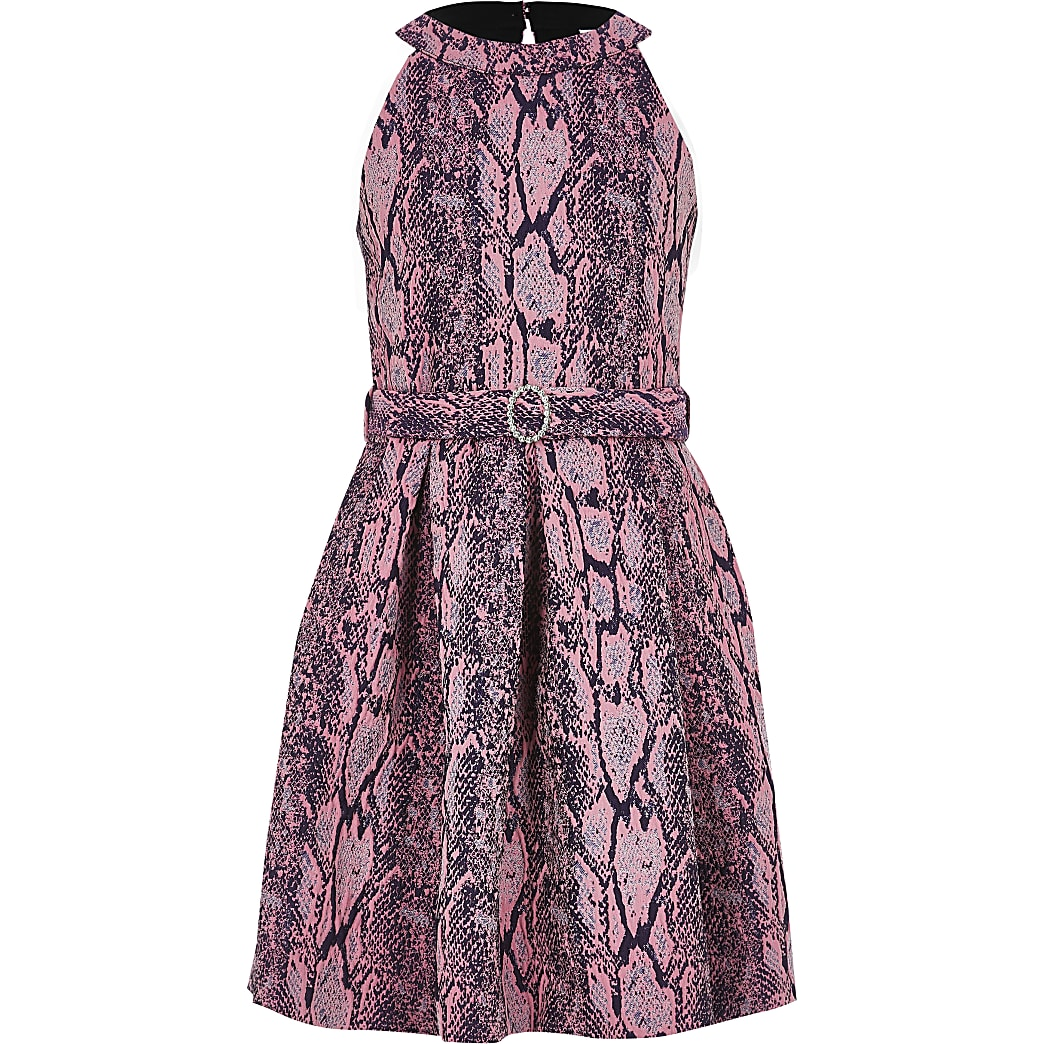 Girls pink snake print belted prom dress