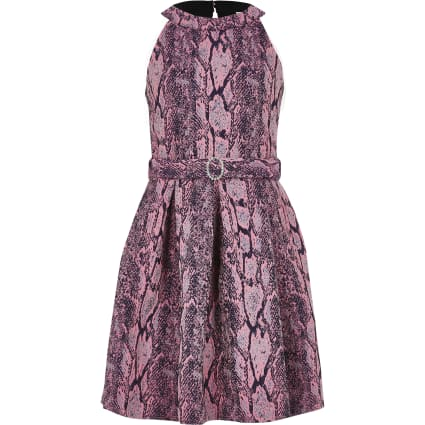 Girls pink snake print belted prom dress