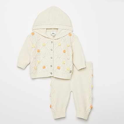Baby cream knitted pom pom cardigan outfit