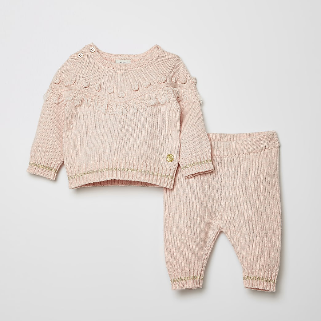 Baby pink tassel knitted jumper outfit