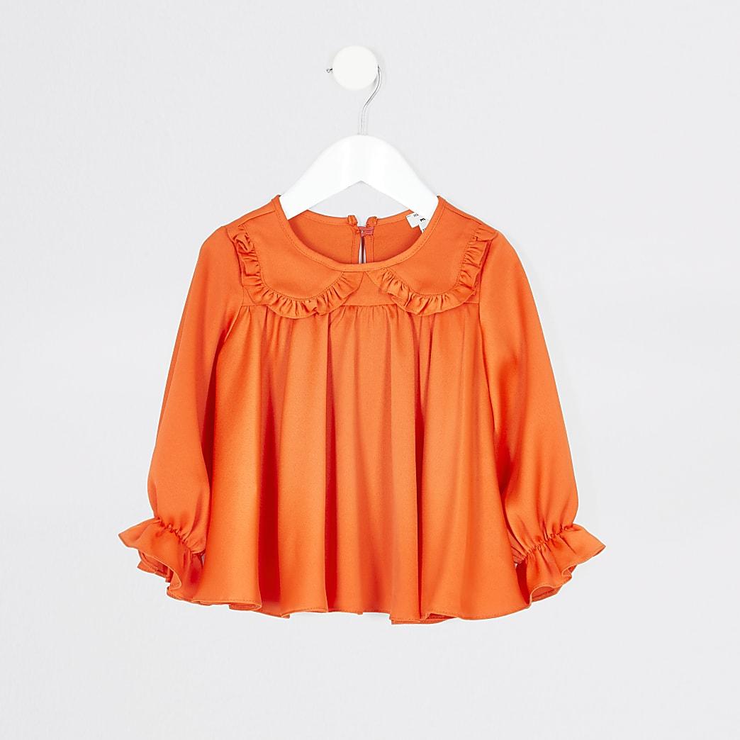 Mini girls orange frill collar top