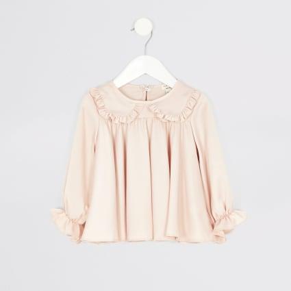 Mini girls pink frill collar top