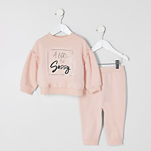 Tenue avec sweat rose « sassy » Mini fille