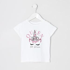 Mini–Weißes T-Shirt mit Einhorn-Motiv für Mädchen