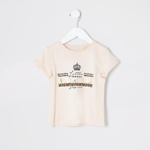 Mini - Roze T-shirt met 'Little princess'-print voor meisjes
