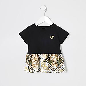 T-shirt baroque noir style péplum pour fille