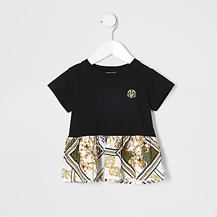 Mini girls lack peplum baroque T-shirt