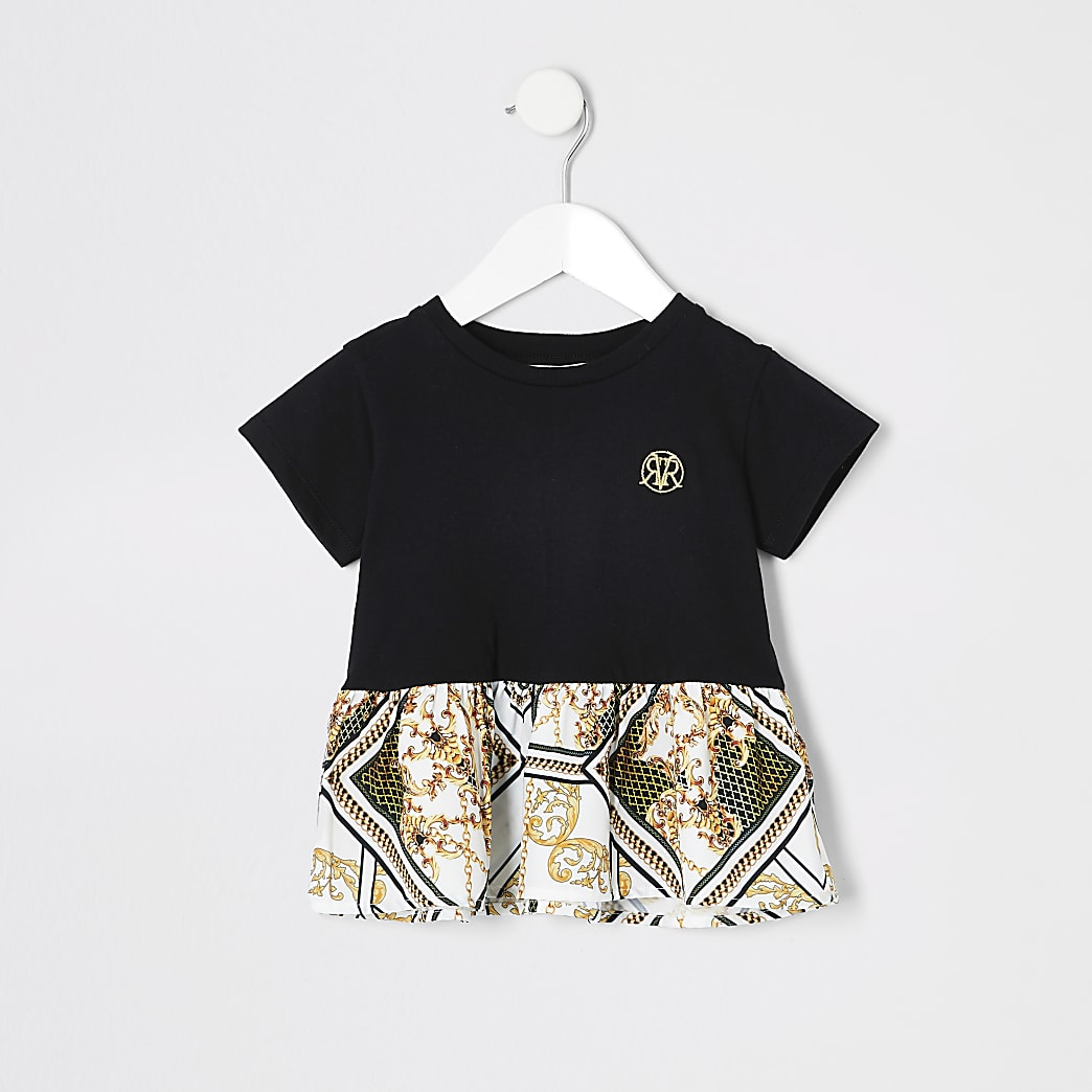 Mini girls lack peplum baroque T-shirt