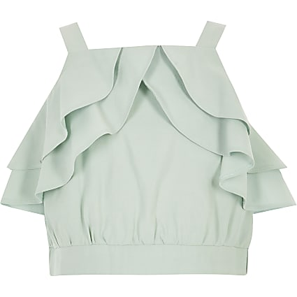 Girls light green ruffle crop top