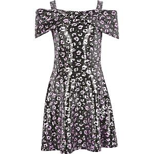 Girls black leopard print sequin dress