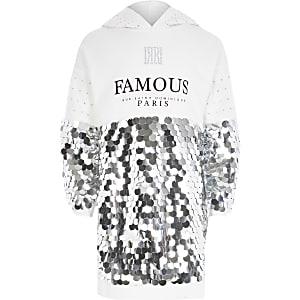 Hoodie-jurk met lovertjes en 'Famous'-tekst voor meisjes