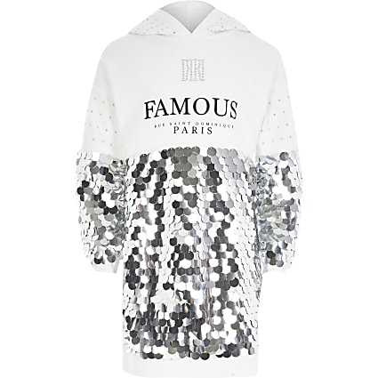 Girls 'Famous' sequin sweatshirt dress