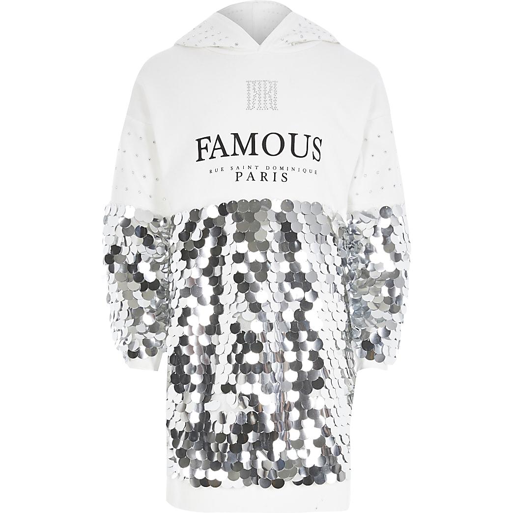 Lovertjes trui-jurk met 'Famous'-print en lovertjes voor meisjes