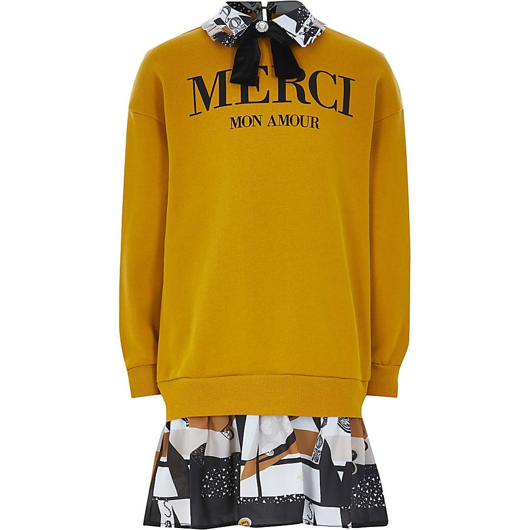Girls yellow 'Merci' print sweatershirt dress