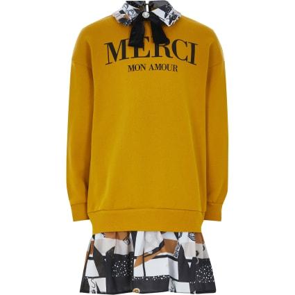 Girls yellow 'Merci' print sweater dress
