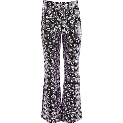 Girls leopard embellished flared trousers
