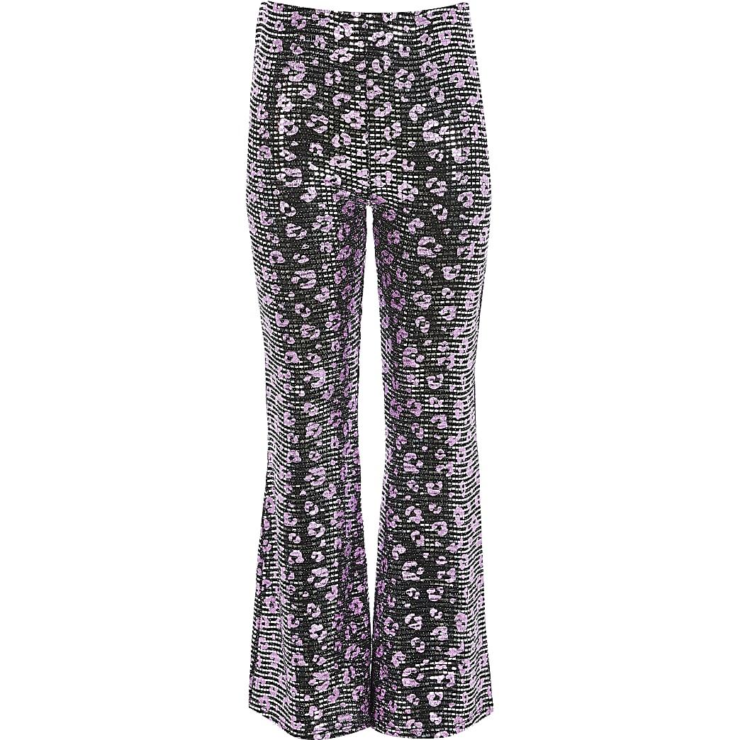 Verfraaide flared broek met luipaardprint voor meisjes