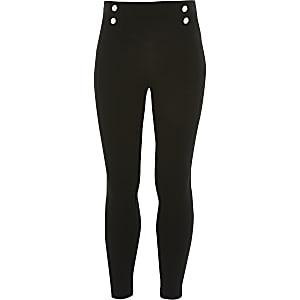 Girls black button front ponte leggings