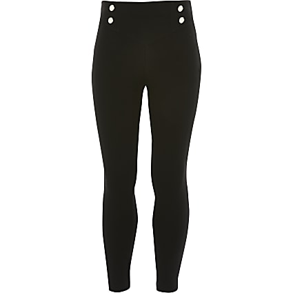 Girls black button front ponte leggings
